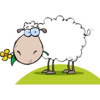 Sheep with flower on green hill Thumbnail