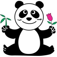Panda with flower Thumbnail