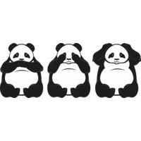 Hear no evil pandas horizontal Thumbnail
