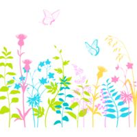 Pretty pastel garden with butterflies Thumbnail