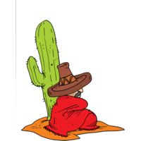 Mexican man sitting cactus Thumbnail