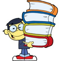 boy with glasses holding 4 big books Thumbnail
