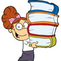 girl with bun holding 4 big books Thumbnail