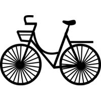 Bike with basket black line art Thumbnail