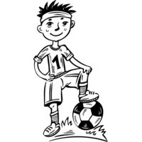 Boy soccer black white drawing Thumbnail